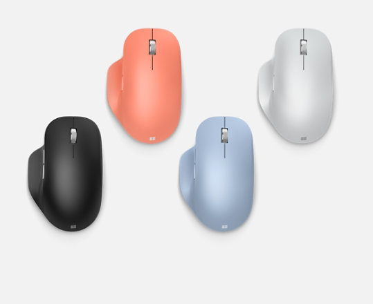 Microsoft Bluetooth Ergonomic Mouse in various colours.