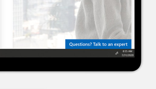 """A screen showing """"Questions? Talk to an expert"""" on a Microsoft Store page."""