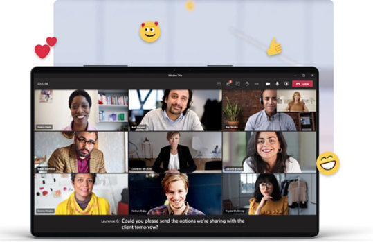 Ten people on a video call on Teams that is using the live captions function.