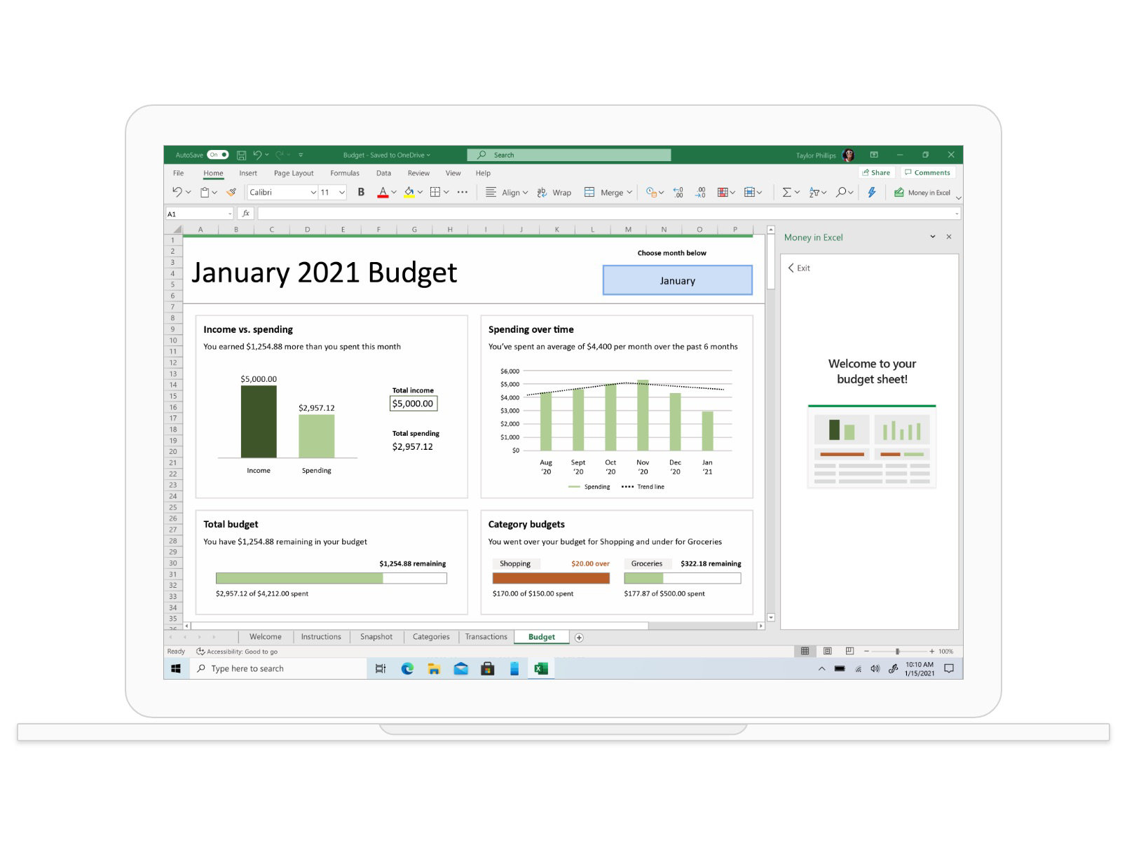 Feuille de calcul Excel d'un budget de janvier 2021 avec des tableaux et des graphiques.