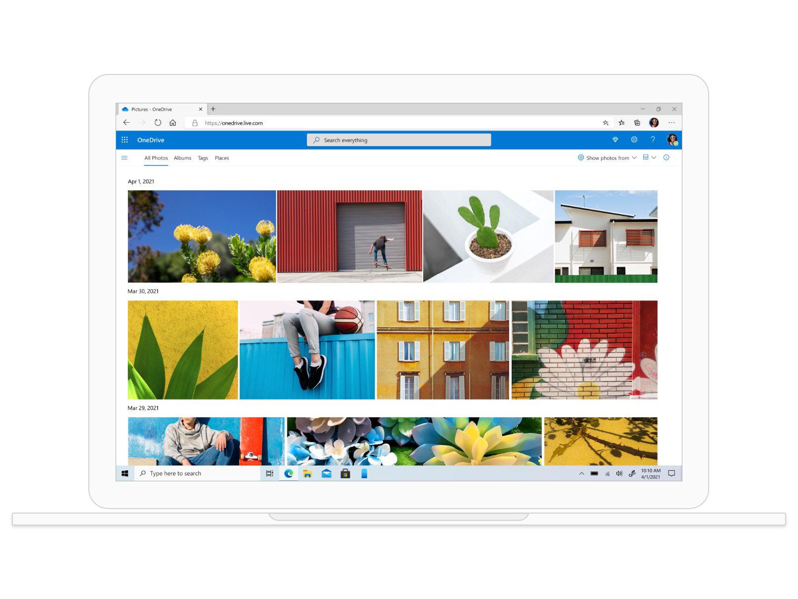 Photos colorées enregistrées dans OneDrive.