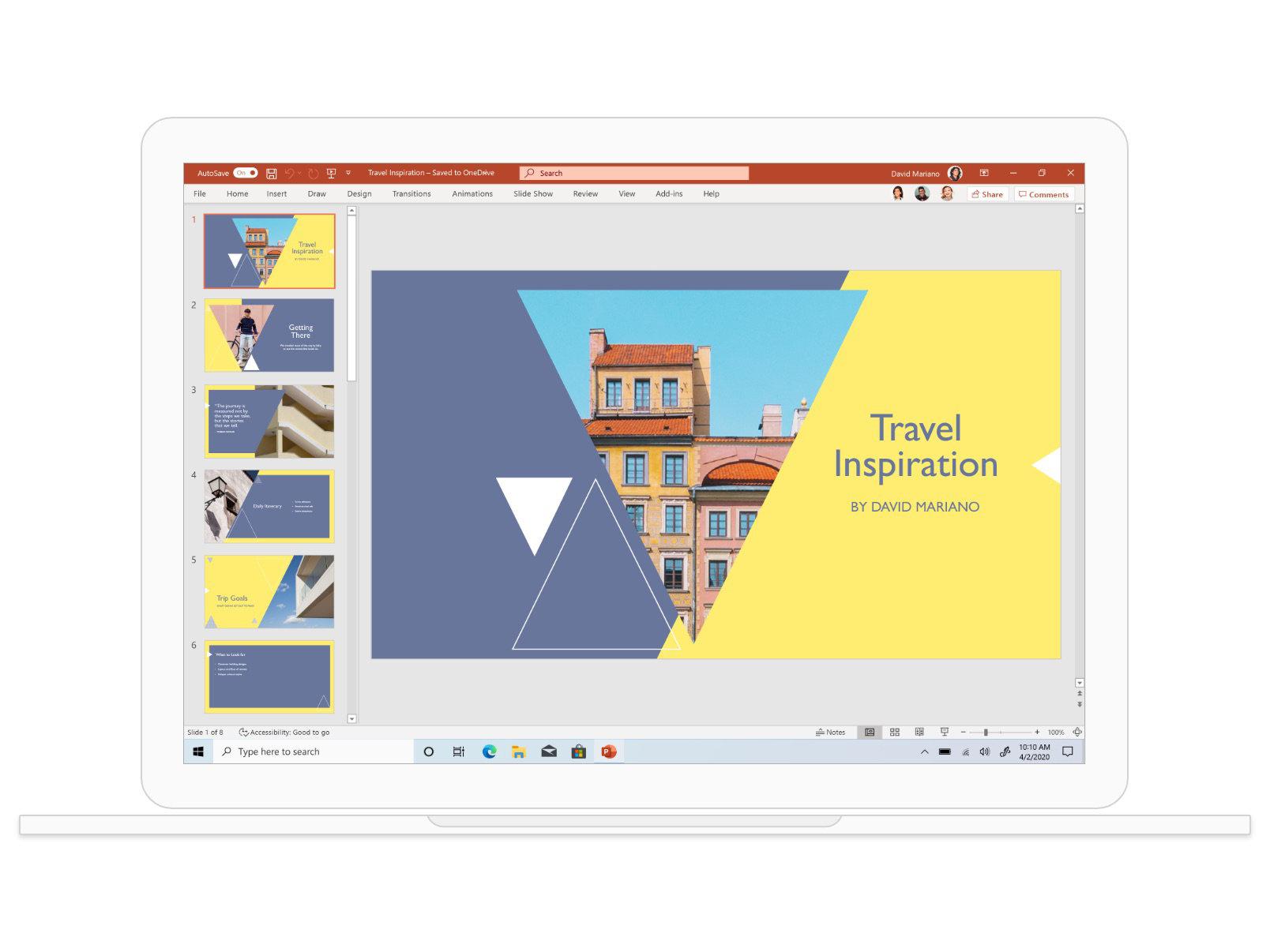 Présentation PowerPoint mettant en avant des idées de voyage avec des photos sur ce thème.