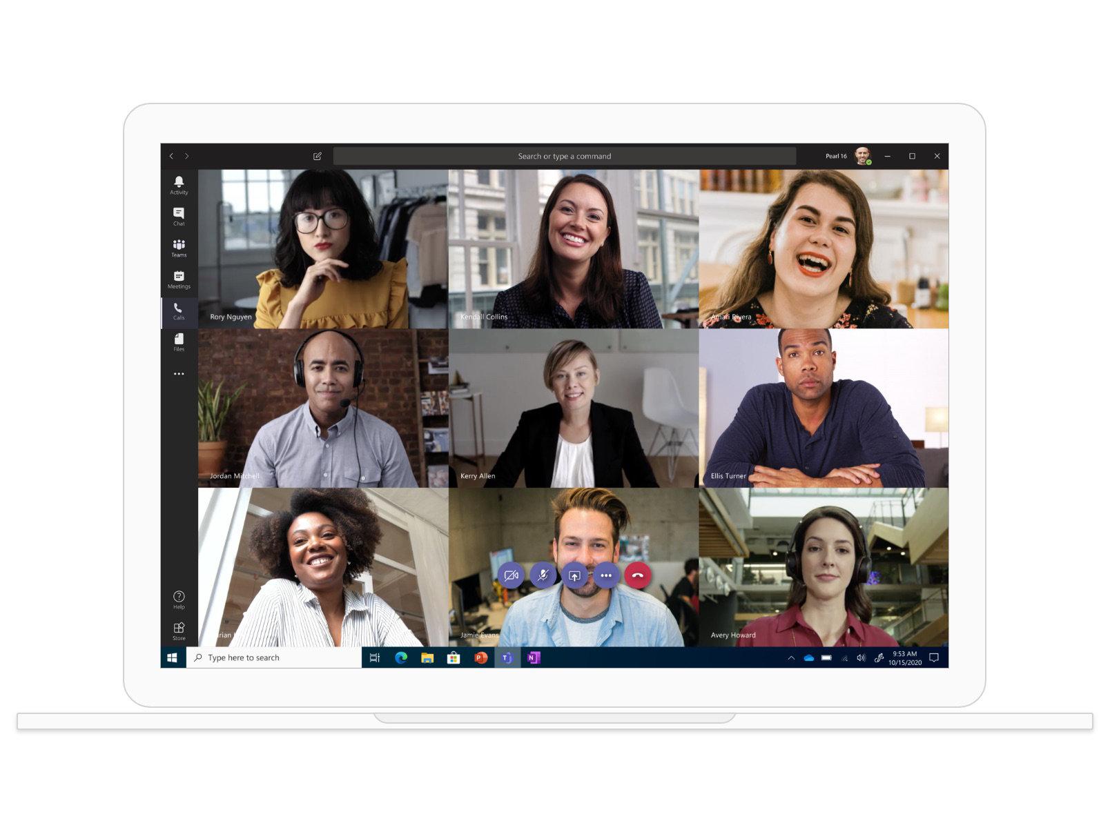 Appel vidéo sur Teams impliquant neuf participants.