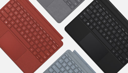 Four Surface Type Covers in black, silver, ice blue, and poppy red