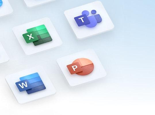 Logos des applications Microsoft 365 (Excel, Teams, Word, PowerPoint, etc.).