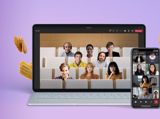 A laptop and a mobile phone displaying video calls in Together mode in Teams.