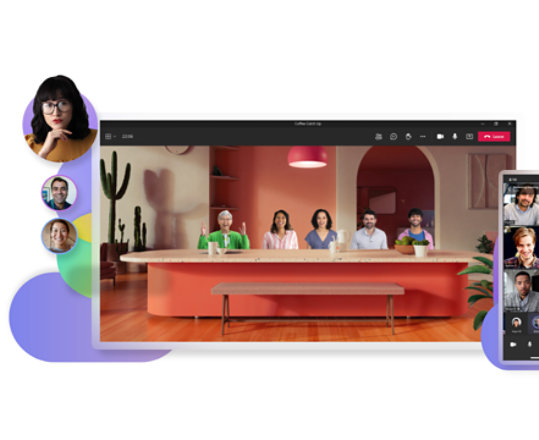 A desktop display of a Teams video call in Together mode and a mobile display of another Teams video call.