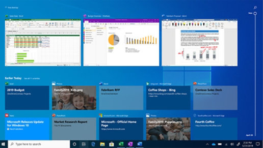 Windows Timeline screen showing previous documents.