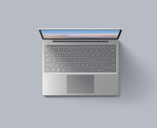 An overhead view of the Platinum Surface Laptop Go for Business.