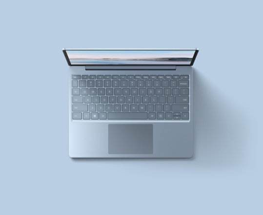 An overhead view of the Ice Blue Surface Laptop Go for Business.