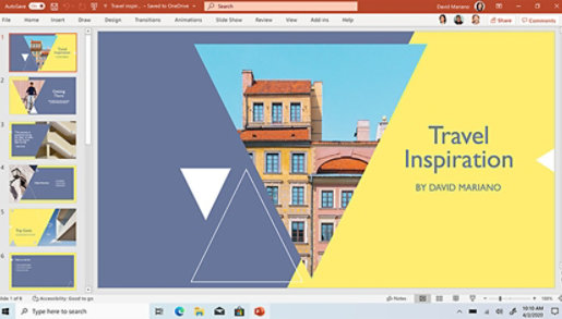 PowerPoint template displayed on screen.