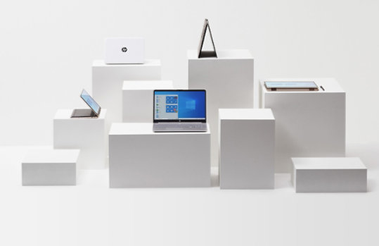 A collection of HP laptops powered by Windows 10.