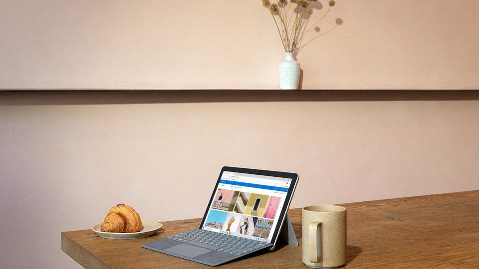 Surface Go 2 on a table.