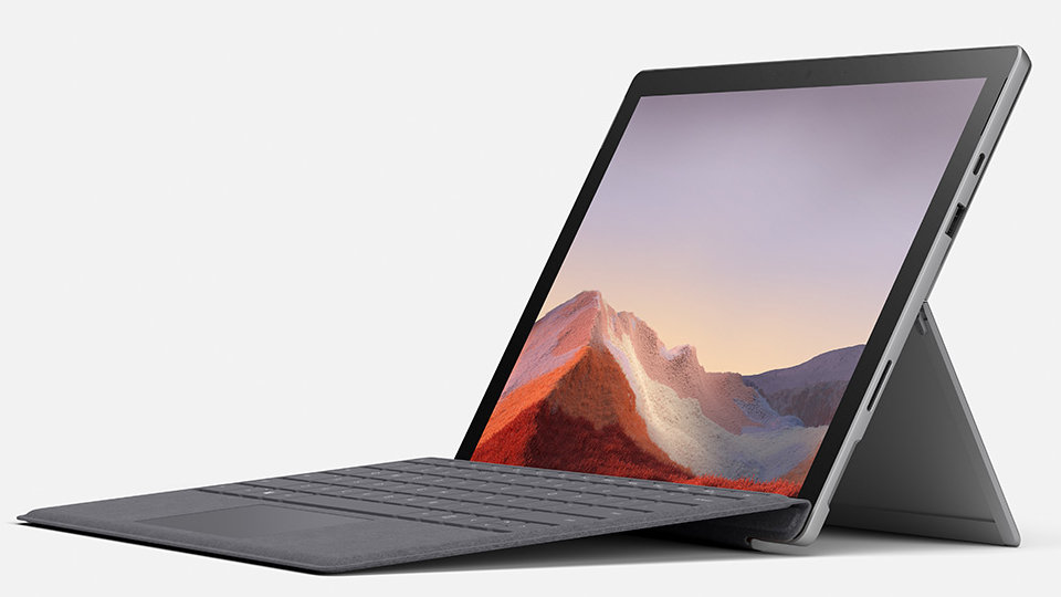 Surface Pro 7 with Type Cover attached and an open Kickstand.