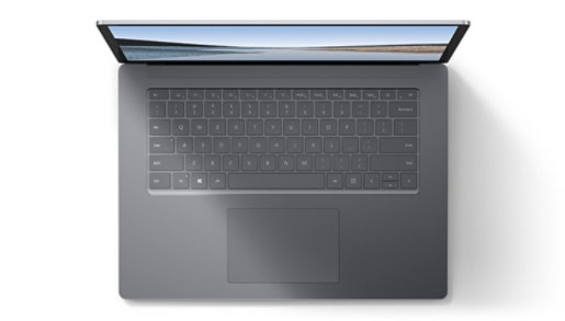 Top view of Surface Laptop 3, which shows the full keyboard and trackpad.