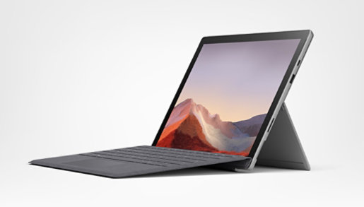 Surface Pro 7 in laptop mode showing screen, keyboard, and kickstand