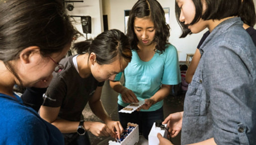A group of girls work together on a project.