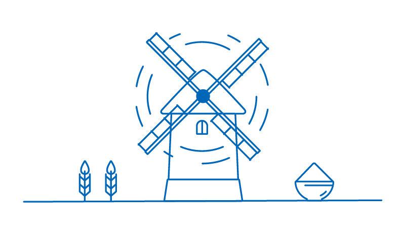 Windmill lined illustration