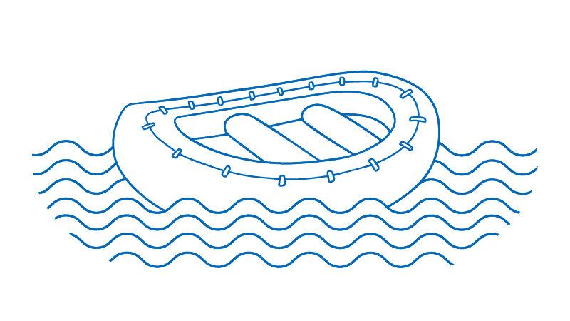 Life raft lined illustration