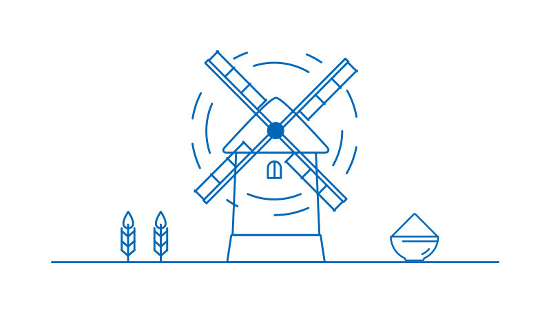 Windmill lined illustration