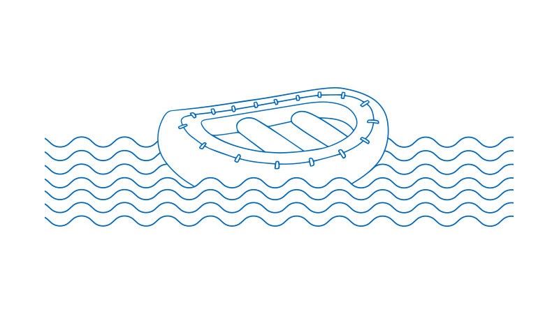 Life raft lined illustration