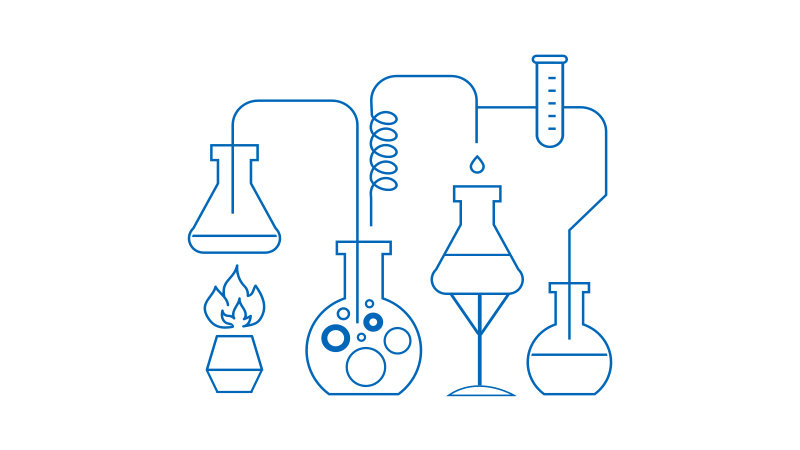 Chemical reactions in the lab illustration