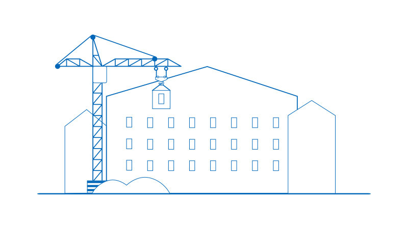 Building with crane illustration