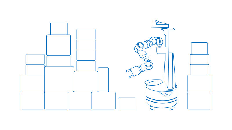 Robotics with boxes illustration