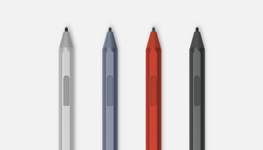 Surface Pens in Poppy, Black, Ice Blue, and Platinum.