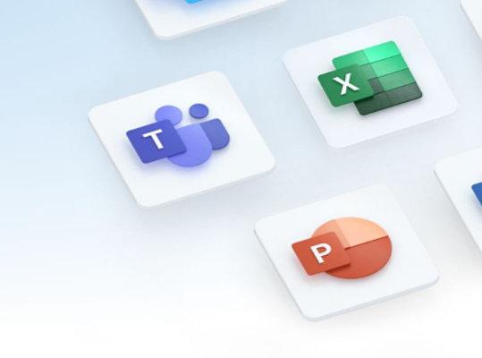 شعارات تطبيقات Microsoft 365 مثل Excel وTeams وWord وPowerPoint والمزيد.