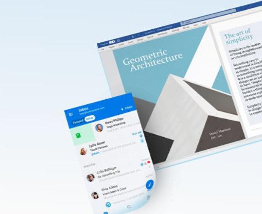 لوحتان تعرضان تطبيقات Microsoft 365.