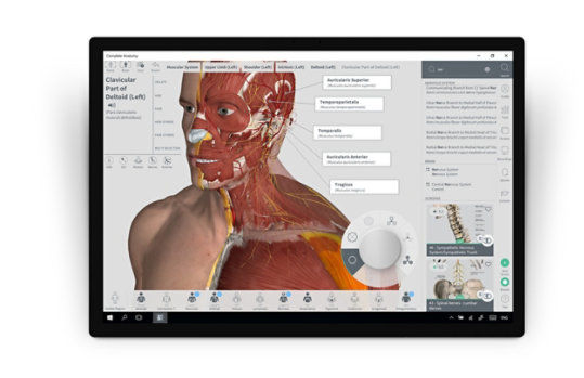 Surface Dial adjusts features in Complete Anatomy.