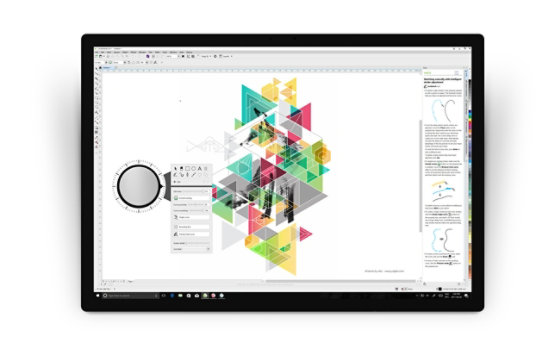 Surface Dial accesses tools in CorelDRAW Graphics Suite.