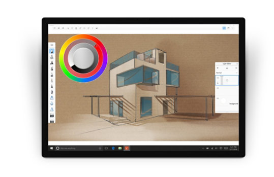 Surface Dial changes settings in Autodesk Sketchbook.