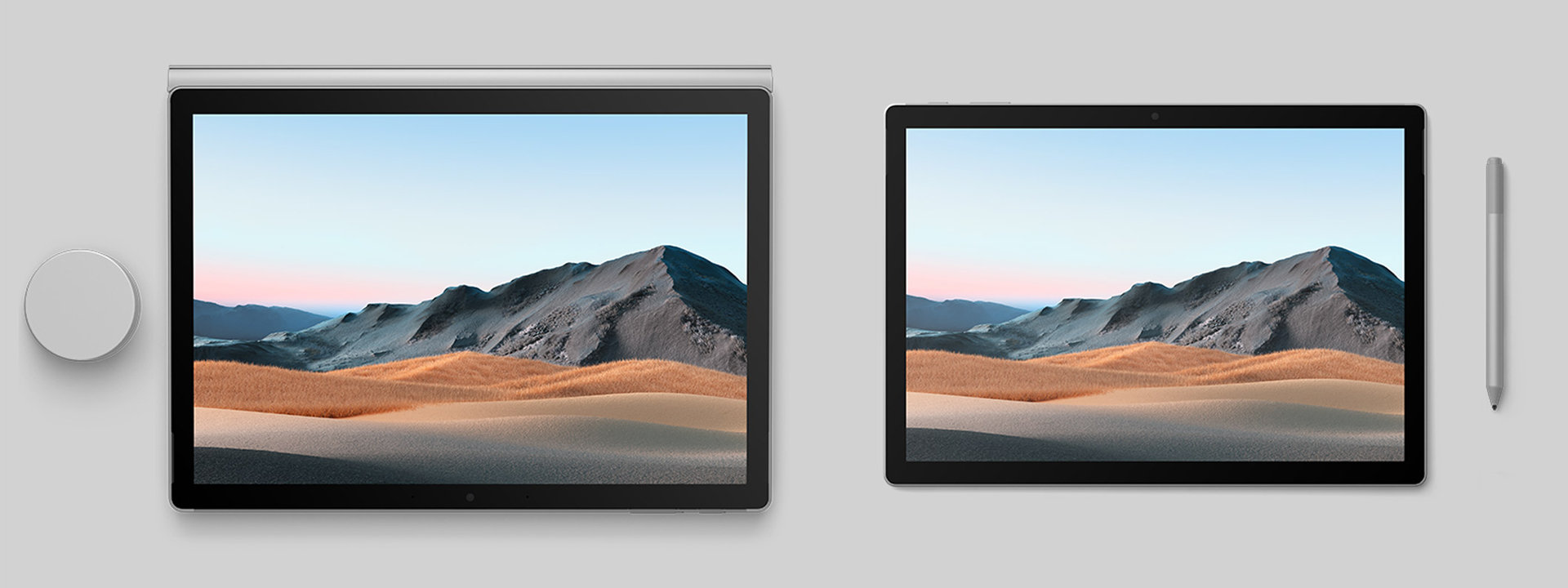 Surface Book 3 in two sizes in tablet mode. Surface Dial. Surface Pen.
