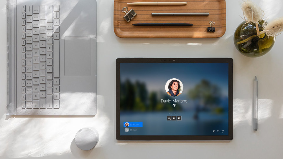 Windows Hello sign-in on the screen of Surface Book 3 in tablet mode.