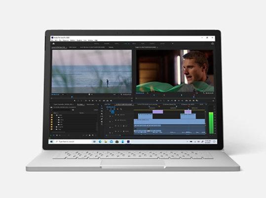 Surface Book 3 running Adobe Premiere.