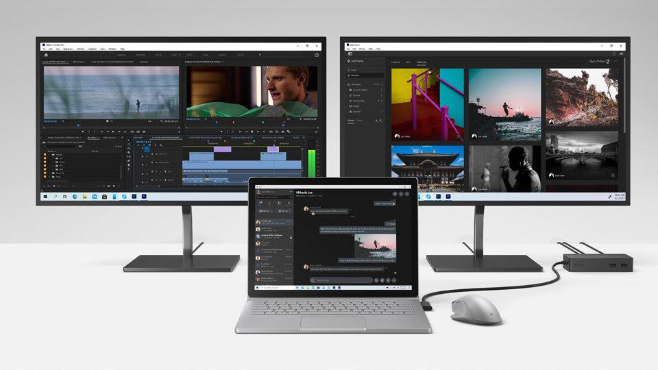 Surface Book 3. Surface Dock 2. Microsoft Bluetooth Ergonomic Mouse. 2 monitors.