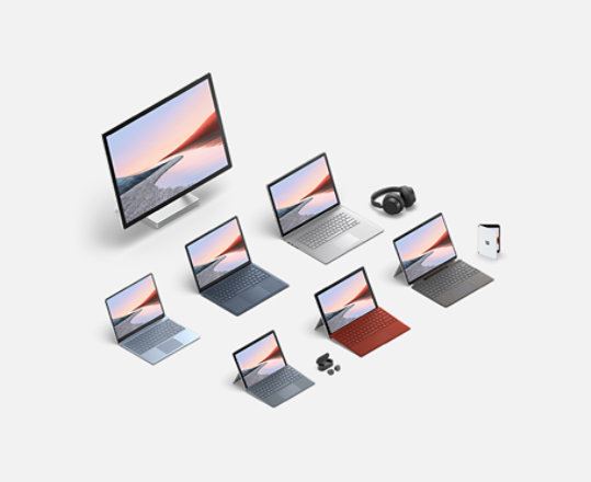 A collection of Surface devices.