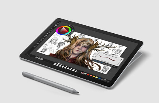 Surface Go 2 in studio mode with Surface Pen.