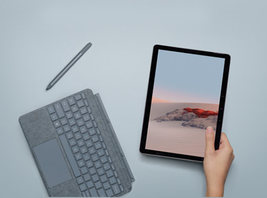 Surface Go 2 with a Type Cover and Surface Pen.