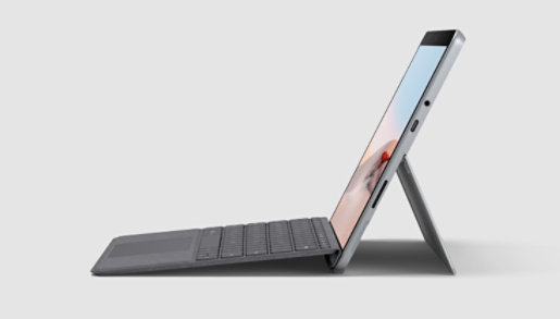 Surface Go 2 with a Type Cover attached and an open Kickstand.