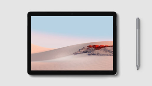 Surface Go 2 in tablet mode with Surface Pen.