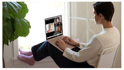A person uses the Surface Laptop 3 for video chatting.