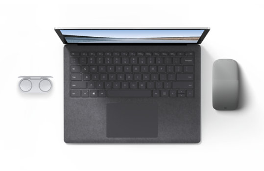 Surface Laptop 3 with Surface Earbuds and Surface Arc Mouse.