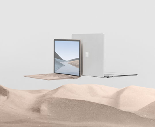 Two versions of the Surface Laptop 3 are displayed back to back.