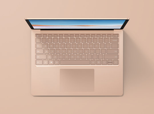Surface Laptop 3 in Sandstone with metal keyboard.