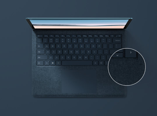 Surface Laptop 3 in Cobalt Blue with Alcantara material.