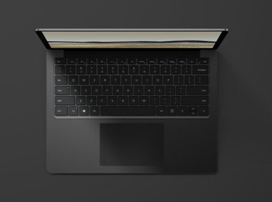 Surface Laptop 3 in Matte Black with metal keyboard.