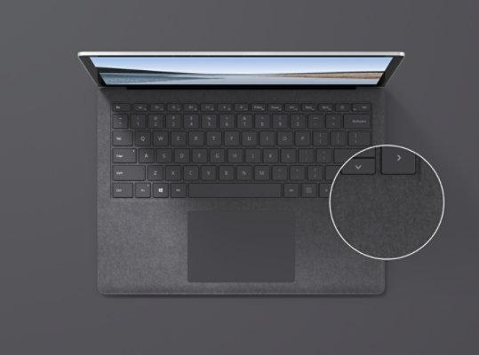 Surface Laptop 3 in Platinum with Alcantara material.